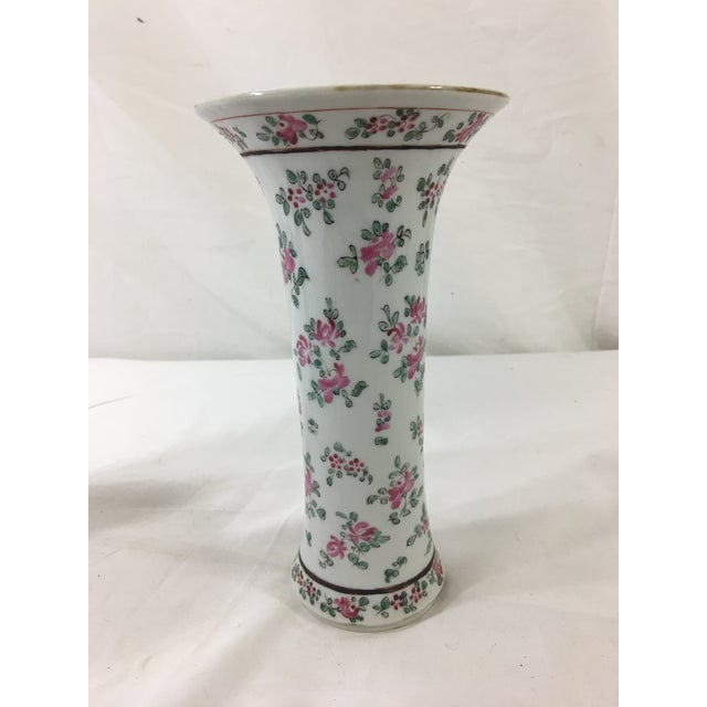 French Floral Trumpet Vases - a Pair For Sale - Image 4 of 9