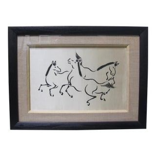 1960s Vintage Asian Style Dancing Horses on Silk For Sale