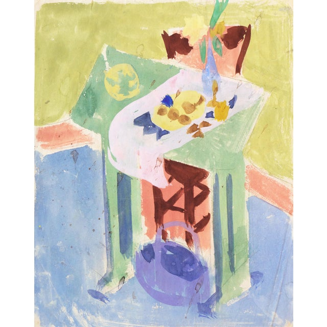 'Still Life With Daffodil and Lemons' by Victor DI Gesu; California Post-Impressionist, Chouinard Art School, Paris For Sale - Image 6 of 6