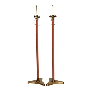 Jacques Adnet Style Brass and Leather Wrapped Floor Lamps - a Pair