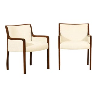 Elegant Pair of Restored Modern Armchairs in Walnut