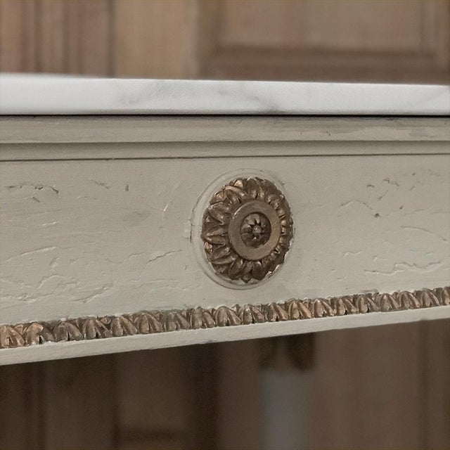 Late 19th Century 19th Century Italian Neoclassical Painted and Gilded Marble Top Center Table ~ Console For Sale - Image 5 of 12