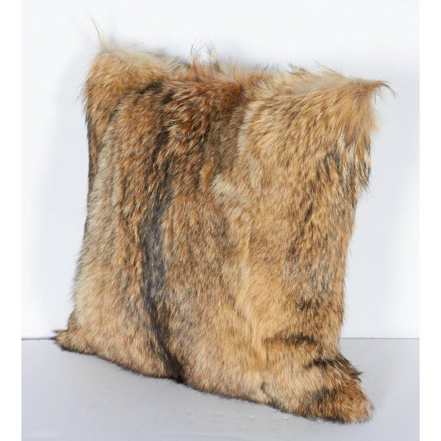 Tan Pair of Luxury Fur Throw Pillows in Genuine Coyote and Cashmere For Sale - Image 8 of 10