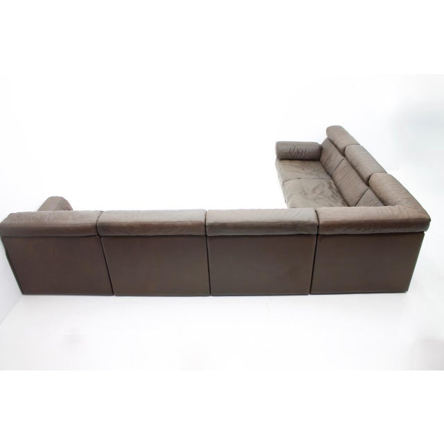 Brown Large Modular Leather Sofa in Dark Brown Leather by De Sede, Switzerland, 1970s For Sale - Image 8 of 11