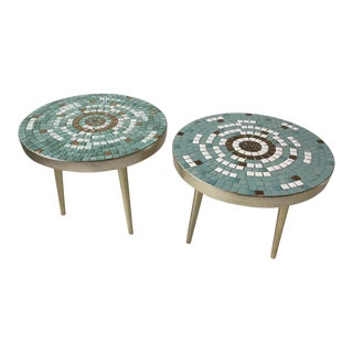 1950s Mosaic Tile Top Side Tables - A Pair For Sale