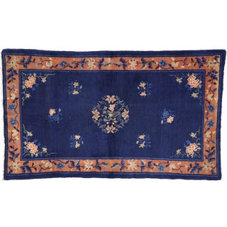 Early 20th Century Antique Chinese Peking Accent Rug - 3′11″ × 6′8″ For Sale