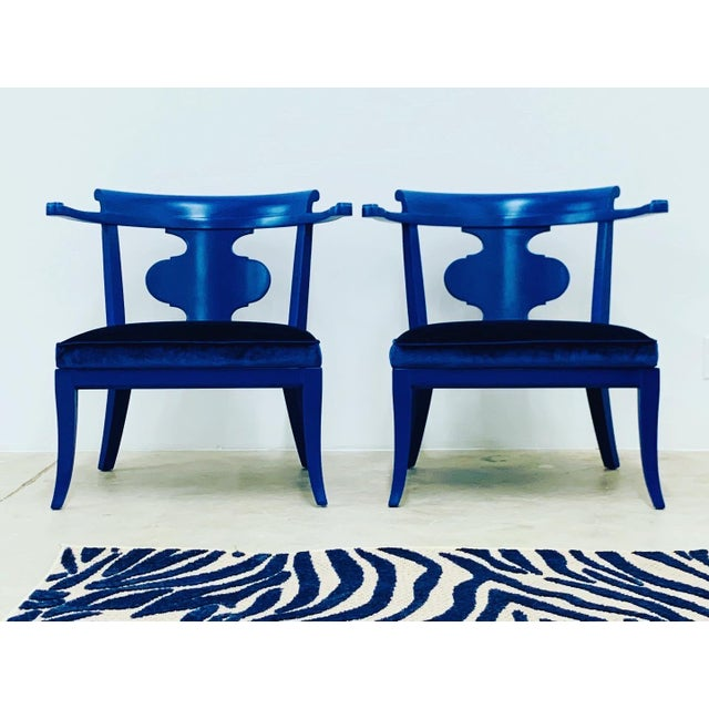 Mid Century Chinoiserie Style Horseshoe Chairs Redefined in Klein Blue - a Pair For Sale - Image 12 of 12