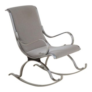 Chrome Framed Mohair Upholstered Rocking Chair, 1970s For Sale