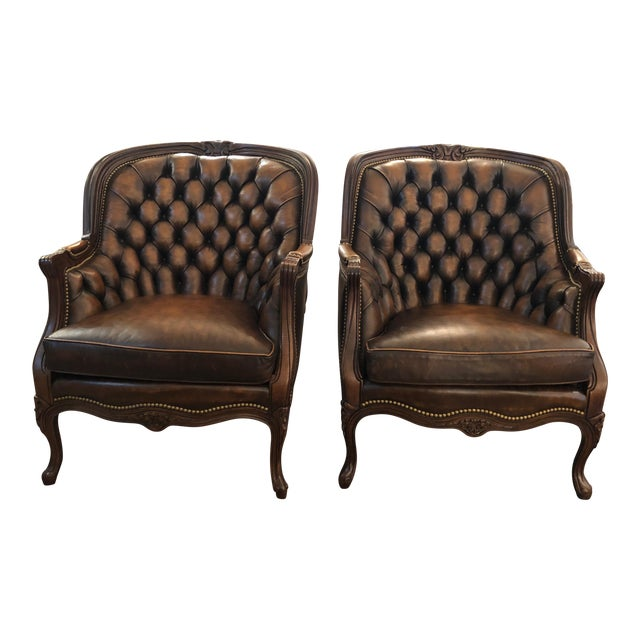 Tufted Burnished Leather Club Chairs - a Pair For Sale