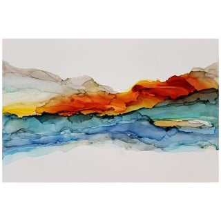 Fara Thomas Red Rock Sunrise Abstract Painting For Sale