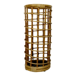 Vintage Boho Chic Style Rattan Umbrella Stand For Sale