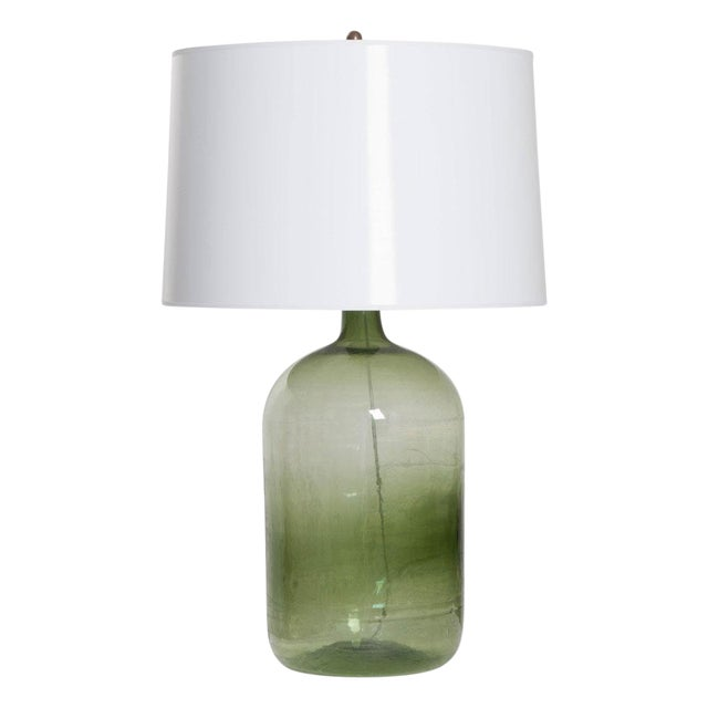 French 19th Century Green Glass Demijohn Lamp For Sale