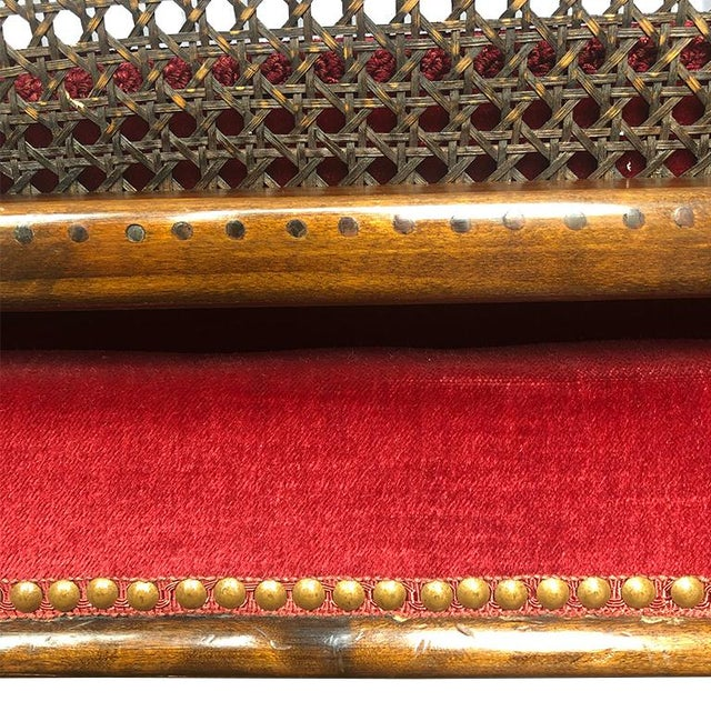 Vintage Red Velvet Carved Bergère Armchair With Cane Sides and Back For Sale - Image 4 of 11