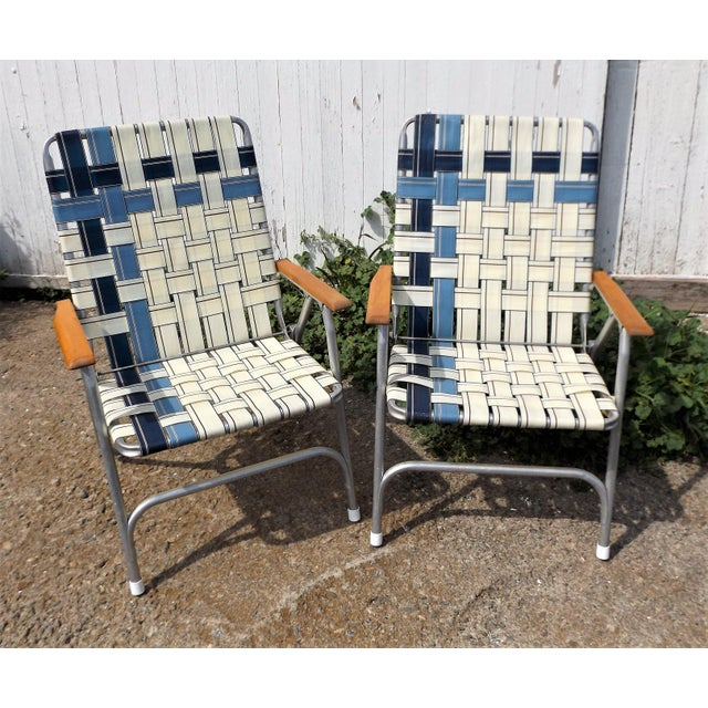 Vintage Aluminum Webbed Folding Lawn or Patio Chairs - A Pair - Image 2 of 9
