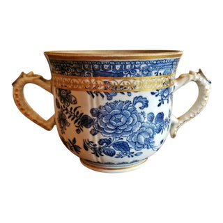 18th Century Continental 2 Handled Blue and White Mug With Gilding For Sale
