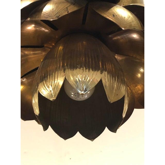 Boho Chic 1970s Large Mid-Century Modern Brass Lotus Flower Chandelier Pendant For Sale - Image 3 of 6