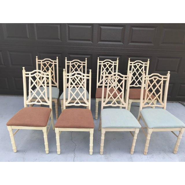Hard to find set of 8 vintage chippendale faux bamboo dining chairs. Ready to be updated to your desire.