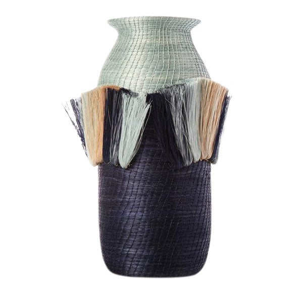 Fanned Out Small Tall Vase Pool/indigo For Sale