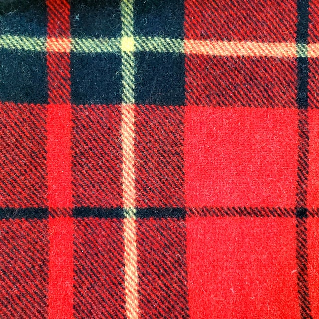 """Vintage classic tartan plaid 100% wool throw blanket in red/black/yellow. The makers label is """"Troy Robe"""" of New..."""