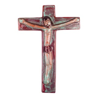 Wall Crucifix in Ceramic, Hand-Painted, Burgundy, Teal, Made in Belgium, 1960s