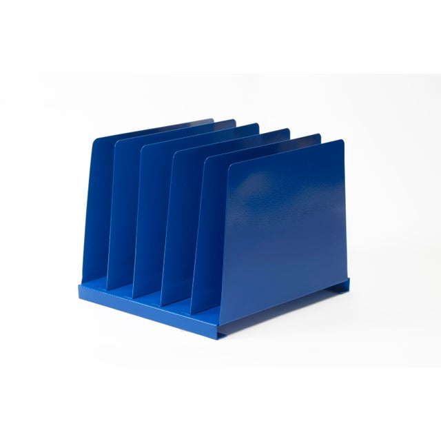 Metal 1970s Desktop File Holder, 5 Slot, Refinished in Blue For Sale - Image 7 of 7