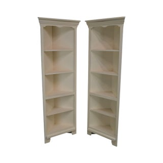 Riverside Furniture Quality Pair Off White Painted Corner Bookcases For Sale