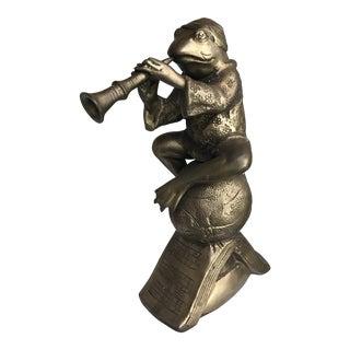 Vintage Sarreid Solid Brass Frog Musician Figurine
