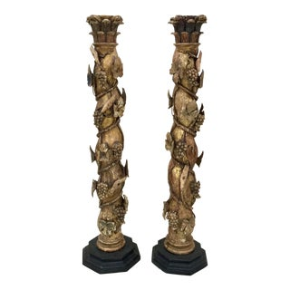 18th Century Italian Carved Wood Columns - a Pair