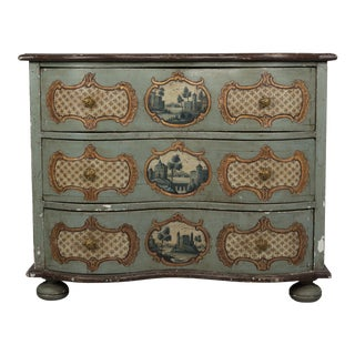 19th Century German Serpentine Painted Chest For Sale