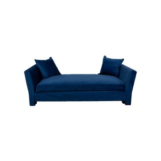 Billy Baldwin Blue Velvet Upholstered Daybed For Sale