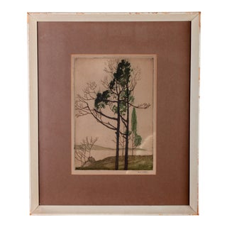 Mid 20th Century American Landscape Etching by Nell Witters For Sale