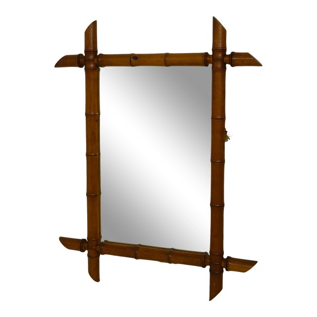 Early 1900's Faux Bamboo Wood Mirror For Sale