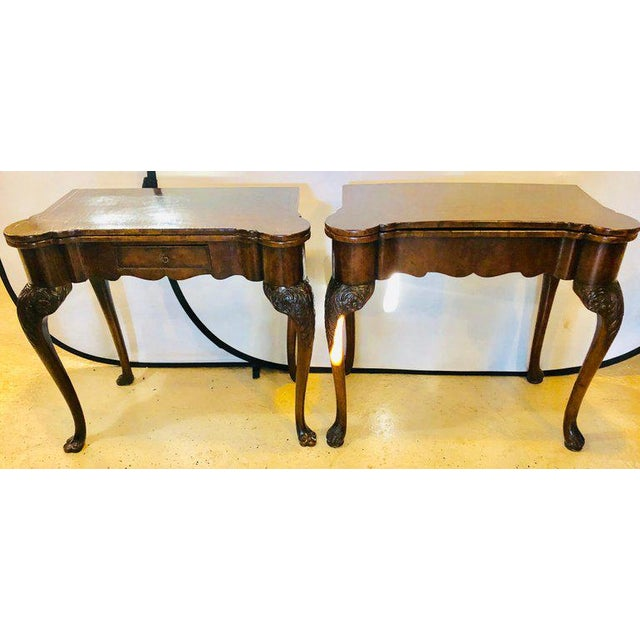 Pair of late 18th or early 19th century Georgian compatible card / game or flip top tables. One with a single drawer and...