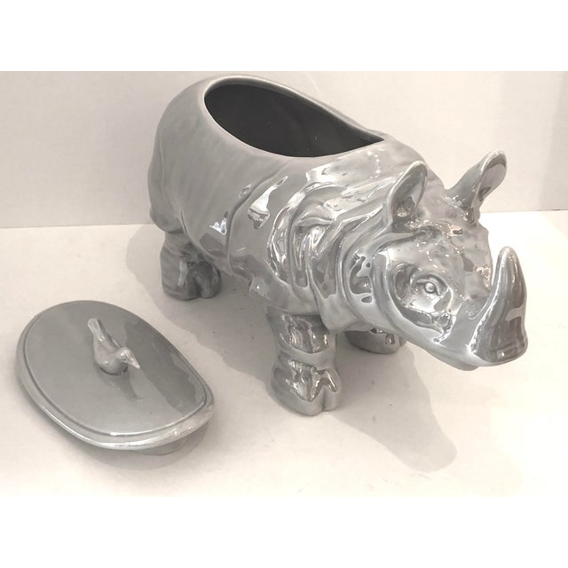 Mid-Century Rhinoceros Lusterware Ceramic Tureen by Christian Dior, France For Sale In West Palm - Image 6 of 12