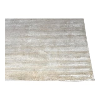 Contemporary Tone on Tone Striped Rug White (8x10)