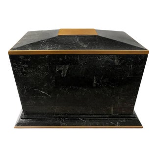1970s Maitland Smith Black Tessellated Stone Box with Brass Trim For Sale