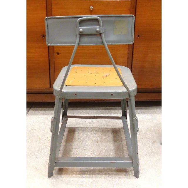 Industrial Metal Desk Chair For Sale - Image 4 of 10