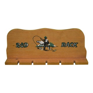 1950s Adirondack Wooden Fly Fishing Rod Rack For Sale