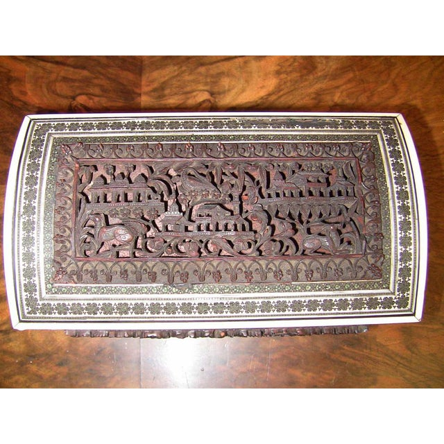 19c Anglo Indian Heavily Carved Padouk and Sadeli Double Caddy For Sale - Image 9 of 12