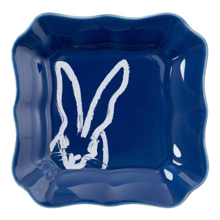 Hunt Slonem Blue Bunny Portrait Plate - Set of 2 For Sale