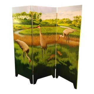 Ron Parvu Tryptich Screen 'Sandhill Cranes' For Sale