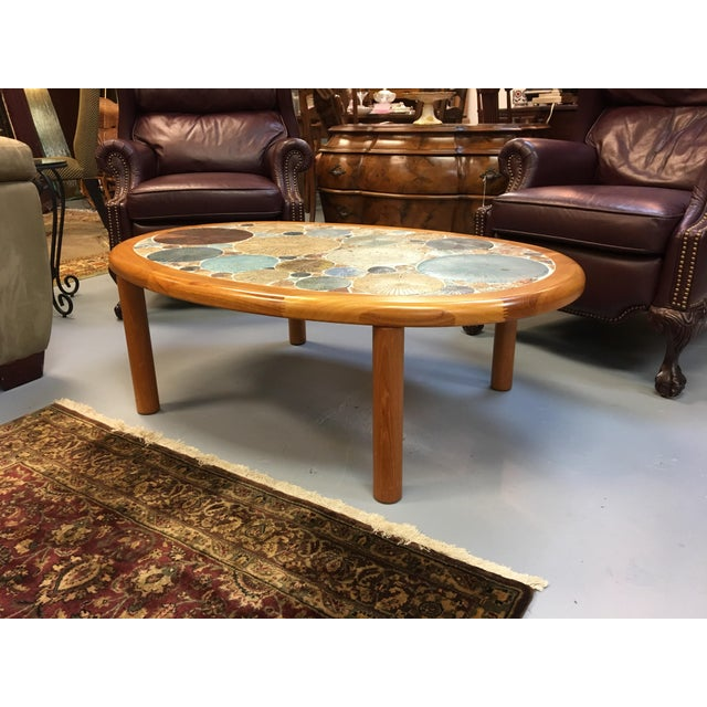 Tue Poulsen Danish Modern Teak & Ceramic Coffee Table For Sale In Orlando - Image 6 of 7