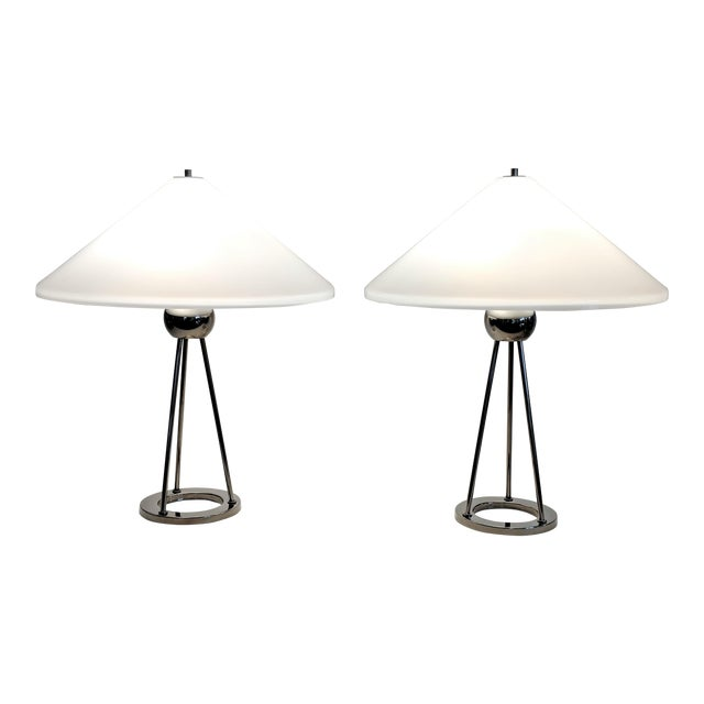 1970s Vintage Van Nessen Chrome and Lucite Table Lamps - A Pair For Sale