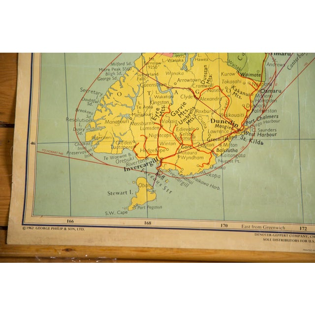 1960s Vintage New Zealand Pull Down Map - Image 6 of 8