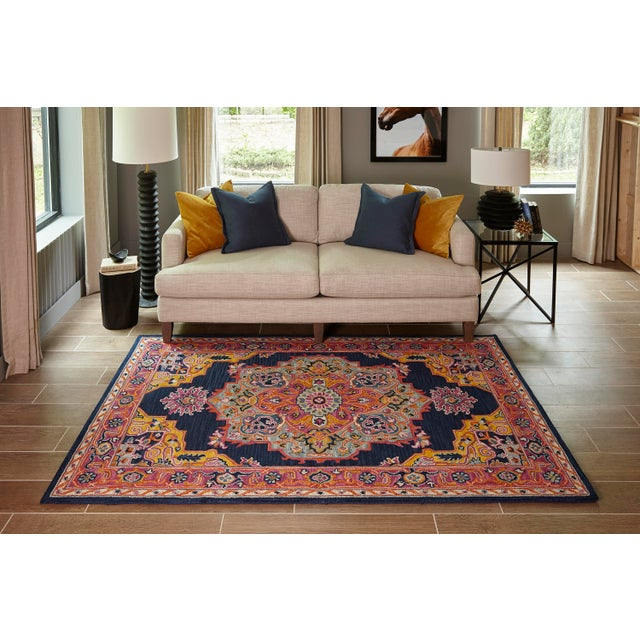 """Ibiza Navy Hand Tufted Area Rug 2'3"""" X 7'10"""" Runner For Sale In Atlanta - Image 6 of 7"""