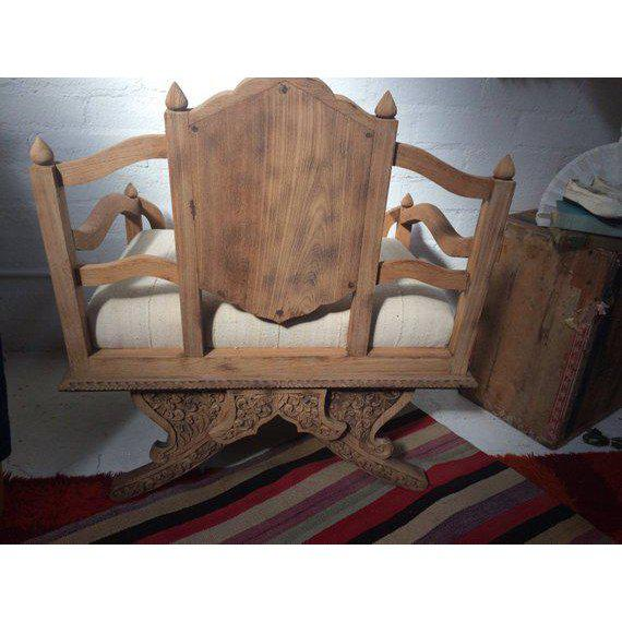 Antique Carved Wooden Elephant Saddle Chair With Hand Woven Textile Cushion For Sale - Image 4 of 11
