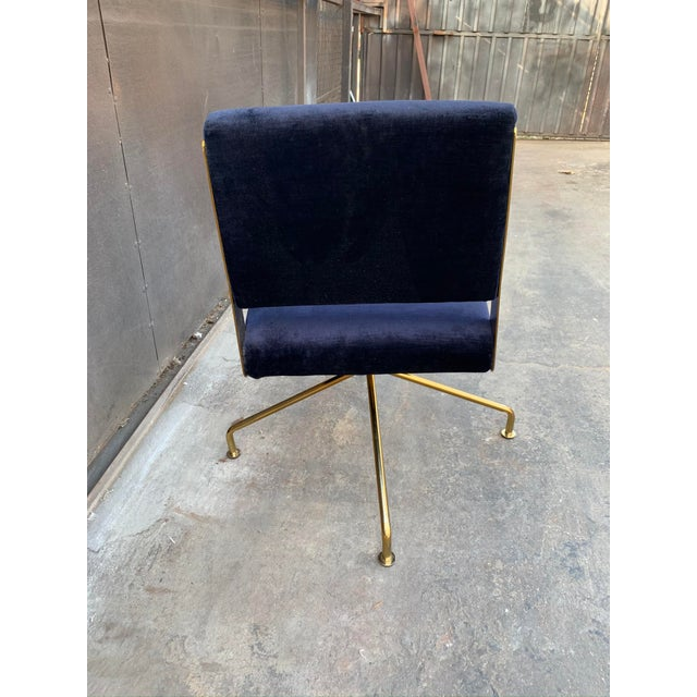 Contemporary Rue Cambon Blue Velvet Swivel Office Chair For Sale - Image 4 of 5
