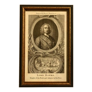 """18th Century Print """"Lord Hawke, 'The Naval History of Great Britain'"""" by Frederic Hervey For Sale"""