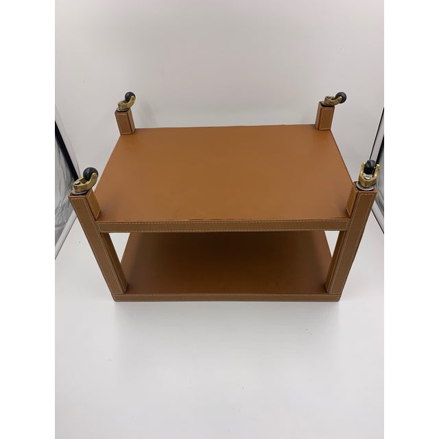 Two Tier Dimuntive Leather Trolley on Casters For Sale - Image 9 of 10