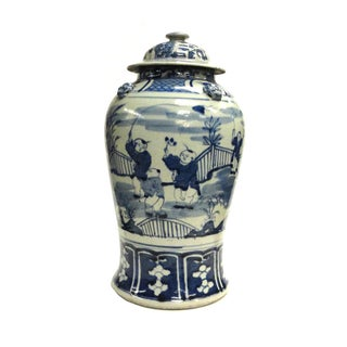 Chinese Blue & White Porcelain Temple General Jar For Sale